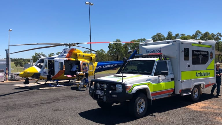 The RACQ CQ Rescue helicopter flew the man to hospital.