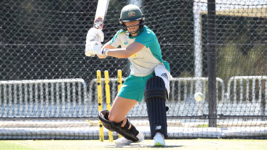 Australia's Ellyse Perry at training before the series against India.