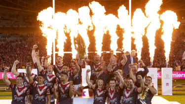 The Roosters celebrate winning the 2019 NRL grand final.