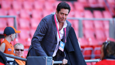 Gillon McLachlan at the GWS-Western Bulldogs final earlier this month.