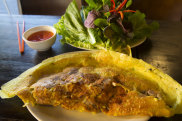 Banh xeo (Vietnamese pancake) served at Co Do Vietnamese restaurant in Sunshine, Melbourne.
