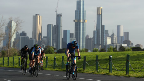 Cyclists at Albert Park in Melbourne.