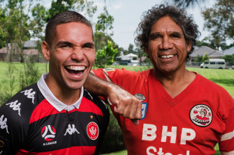 Wanderers defender Tate Russell and his dad, Illawarra Steelers legend Ian.
