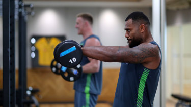 Samu Kerevi prepares for the Wallabies' World Cup opener against Fiji.