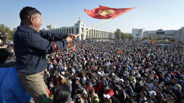 People protest during a rally against the results of a parliamentary vote in Bishkek, Kyrgyzstan.