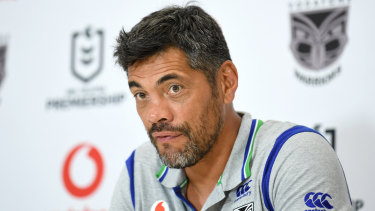 Warriors coach Stephen Kearney speaks at a press conference after the Warriors' loss to the Raiders.