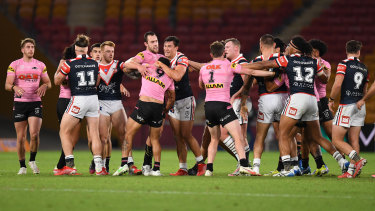 Api Koroisau sparked a melee when he ran in and pushed Jared Waerea-Hargreaves.