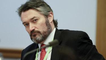 ASIC deputy chair Daniel Crennan during a parliamentary hearing Friday.