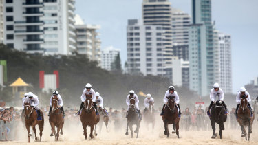 Horses gallop on Surfers Paradise Beach prior to the 2020 Magic Millions barrier draw.