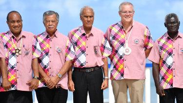 Kiribati's President Taneti Maamau, Cook Islands Prime Minister Henry Puna, Tonga's Prime Minister Akilisi Pohiva, Scott Morrison and Solomon Islands Prime Minister Manasseh Sogavare.