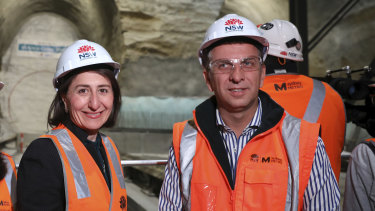 Premier Gladys Berejiklian and Transport Minister Andrew Constance at a metro site in August.