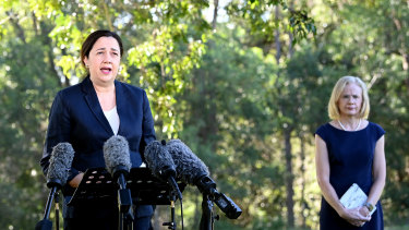 Annastacia Palaszczuk and her top doctor, Jeannette Young.