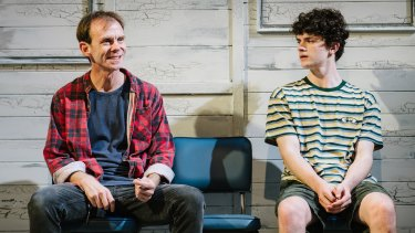 """Bryan Probets and Matthew Ianna in a scene from Queensland Theatre's """"The Holidays""""."""