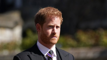 Prince Harry arrives for the funeral of Prince Philip, Duke of Edinburgh.
