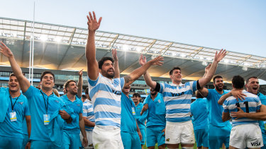Argentina celebrate after their famous All Blacks win.