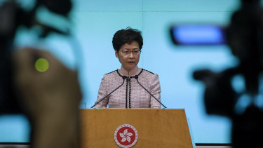 Carrie Lam speaking during a press conference at the Legislative Council on Wednesday.