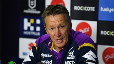 Craig Bellamy fires up after the loss to the Dragons on Sunday.