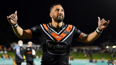 Benji Marshall acknowledges the fans at Leichhardt Oval earlier in the year.