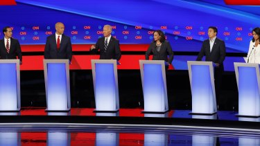 Democratic candidates assembled for debate.
