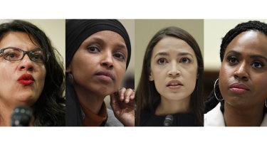 Donald Trump dug in with criticism against (L-R) congresswomen Rashida Tlaib, Ilhan Omar, Alexandria Ocasio-Cortez and Ayanna Pressley.