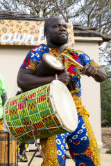 Dance to African rhythms at the Saturday Village Market.