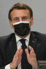 French President Emmanuel Macron on a videoconference with vaccine manufacturers in February. French officials recommended the AstraZeneca shot only be used for people aged under 65.