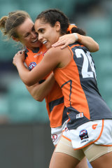 Haneen Zreika kicked a goal to get the Giants on the board, but missed a gilt-edged chance in the second quarter.