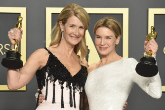 Laura Dern, left, and Renee Zellweger with their Oscars after winning last year.