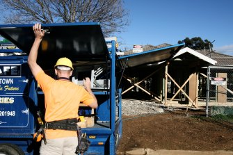 A spike in building approvals in December has led to a large fall in January's numbers.