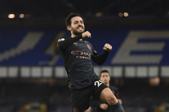 Bernardo Silva celebrates his goal helping Manchester City to a 17th straight win in all competitions.