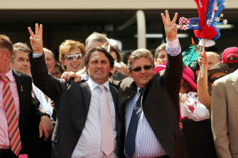 Anthony and Lee Freedman following Makybe Diva's 2005 Melbourne Cup.