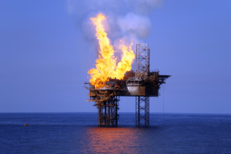 The West Atlas oil rig and Montara well head platform on fire on the morning of November 3, 2009.