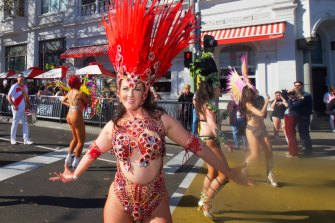 Sashaying down the street: dancers in the 2021 Pride March.