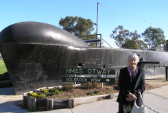 Gundula Holbrook in front of HMAS Otway in Holbrook in 2007.