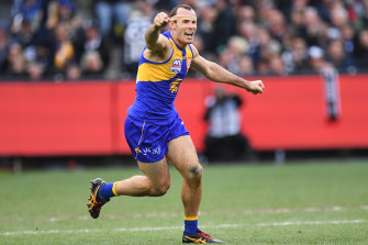 Shannon Hurn after winning the 2018 AFL Grand Final between the West Coast Eagles and Collingwood Magpies.