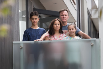 Staying home: Pauline Ioannou, husband Arthur and children Austin, 13, and Sienna, 11.