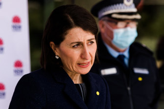 NSW Premier Gladys Berejiklian addresses the media during a press conference at St Leonards on Thursday.