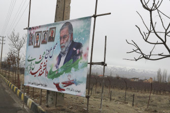 A billboardportrait of Mohsen Fakhrizadeh, an Iranian scientist linked to the country's nuclear program who was killed by unknown assailants last month.