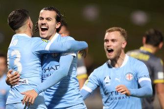 Stefan Colakovski celebrates his opening goal for Melbourne City.