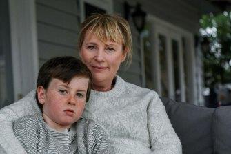 Tessa Wilson with her eight-year-old son Jonty.