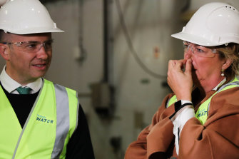 NSW Environment Minister Matt Kean with Water Minister Melinda Pavey during a tour this week of one of Sydney Water's wastewater treatment plants.