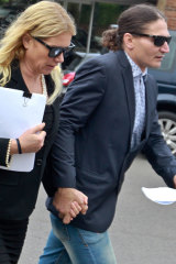 Lizzie Buttrose and Zoran Stopar seen leaving court in 2017.
