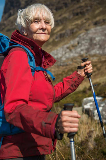 Fighting fit: Hancock, pictured here in the film, scaled the mountain herself at 83.
