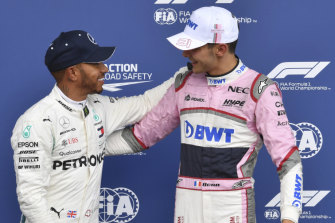 Lewis Hamilton congratulates Esteban Ocon (right, then driving for Force India) on his third place in qualifying at Spa last year.