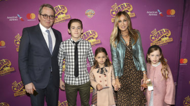Parker with her family, husband Matthew Broderick and their children (from left) James, Tabitha and Marion.