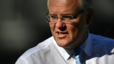 Prime Minister Scott Morrison campaigning in Adelaide on Tuesday.