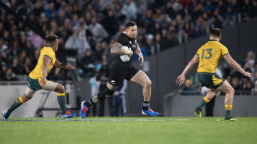 Sonny Bill Williams makes a typically strong run against the Wallabies.