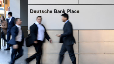 The office of Deutsche Bank is seen in Sydney, Tuesday, July 9,