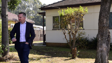 Shadow Treasurer Chris Bowen addressed the media outside his childhood home in Smithfield, Sydney, on Tuesday.