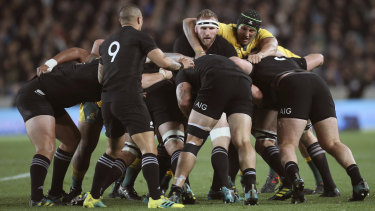 Attacking platform: Aaron Smith waits for the ball to emerge from an All Blacks scrum.